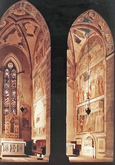 Giotto's frescoes in the Bardi Chapel in Santa Croce, Florence