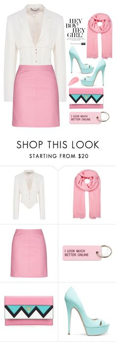 """pink and chic ... try it"" by omniaasaad ❤ liked on Polyvore featuring STELLA McCARTNEY, Denis Colomb, Topshop, Various Projects, Prada, Casadei and Kevyn Aucoin"