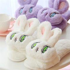 Cute Big Eyes Rabbit Head Plush Cartoon Slippers Summer Autumn Winter Sandals…
