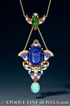Art deco Enameled Egyptian Revival Necklace