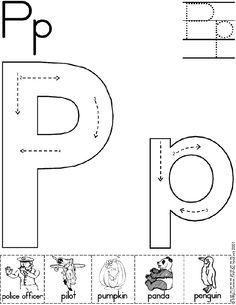alphabet letter p worksheet standard block font preschool printable activity