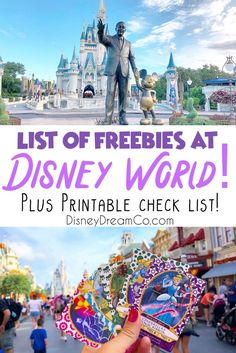 Who doesn't love free things? Check out this list of freebies that you can get while on vacation at Disney World! Plus, a free printable check list! These Disney World freebies include food items, activities and more! Disney World planning tips. DIsney World planning guide. DIsney world tips and tricks. Free things to get at Disney World. DIsney World printables. Disney World checklist. DIsney World with kids. Best Disney World Resorts, Disney World Secrets, Disney World Planning, Disney World Tips And Tricks, Disney Tips, Disney World Vacation, Disney Cruise, Disney Vacations, Disney Stuff