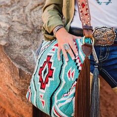 Hand Crafted, One-of-a-Kind, Wool Saddle Blanket Bags w/ two large inside pockets, Vintage New/ Fringe Handbags, Fringe Purse, Purses And Handbags, Tooled Leather Purse, Leather Fringe, Leather Purses, Diy Saddle Blankets, Western Outfits, Western Wear