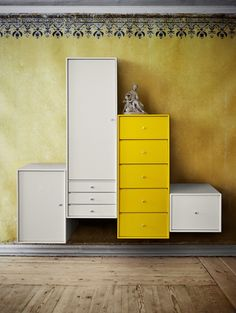 The Corridor Clothes Cabinet by Montana is a fixed element from the design system by Montana and can be supplemented with wheels, feet, or a wall mount. Dining Room Storage, Bedroom Storage, Wardrobe Storage, Cabinet Furniture, Furniture Decor, Armoire Design, Montana Furniture, Clothes Cabinet, Yellow Walls