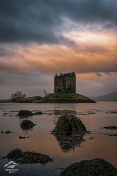 """https://flic.kr/p/QzHggi   Castle Stalker Sunrise, Loch Linnhe - Scotland   Castle Stalker is a four-story tower house or keep picturesquely set on a tidal islet on Loch Laich, an inlet off Loch Linnhe. It is about 1.5 miles (2.4 km) north-east of Port Appin, Argyll, Scotland, and is visible from the A828 road about midway between Oban and Glen Coe. The islet is accessible (with difficulty) from the shore at low tide. The name """"Stalker"""" comes from the Gaelic Stalcaire, meaning &quo..."""
