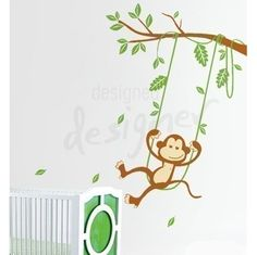 Swinging Monkey Wall Decal - Mural - http://www.theboysdepot.com/swinging-monkey-wall-decal-mural.html