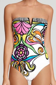 Strapless Print One-Piece Swimsuit For Women