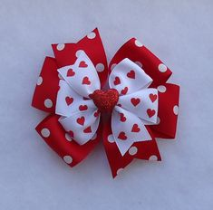 "Valentine's Day Hair Bow, Large Pinwheel (Approximately 4"") Red Heart Bow, Red…"
