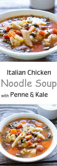 Italian Chicken Noodle Soup - Chicken, veggies, and penne pasta in a flavorful Italian seasoned broth.