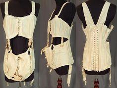 Edwardian Antique Vintage Cotton Coutil Shoulder Strap Garters Maternity Corset