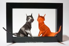Check out all the finished projects. Beautiful delicate flowers, colorful animals and even some fashionable items. Origami Cat, Origami Animals, Colorful Animals, Paper Folding, Paper Art, Diy And Crafts, Moose Art, Delicate, Batman