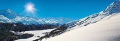 View from Corviglia on the snow-covered lakes of Silvaplana and Champfèr. Winter Engadin St. Moritz, Grisons, Switzerland
