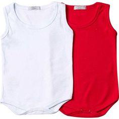 Body Bebê Regata Unissex Kit 2 Peças Branco e Vermelho Klin