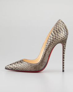 Christian Louboutin So Kate Python Pointed-Toe Red Sole Pump, Bronze - Low cut and vamp!!!!!