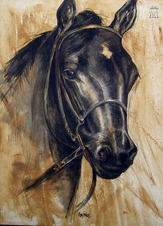 AMERICO HUME /Obra de arte: cabeza de caballo Artistas y arte. Artistas de la tierra