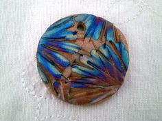 Raku Flower Bead, Statement Bead, Red Mica Clay Bead, Bead Supply by spinningstarstudio on Etsy