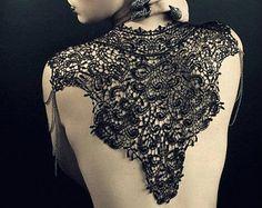 Steampunk black lace bib detachable collar shoulder necklace & epaulettes 'Body Tattoo'