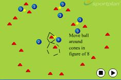 Hockey Figure of 8 around the cone Skill Circuit The player stands facing the cones. Standing still the player should move the ball around the cones in a figure of eight shape. Field Hockey Drills, Soccer Drills For Kids, Dek Hockey, Coach Canada, Hockey Training, Hockey Coach, Hockey Girls, Planer, Circuit
