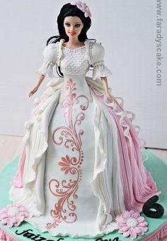 : Fara is Beautiful Birthday Cakes, Gorgeous Cakes, Pretty Cakes, Cute Cakes, Barbie Torte, Bolo Barbie, Barbie Dolls, Dolly Varden Cake, Cookie Cake Designs