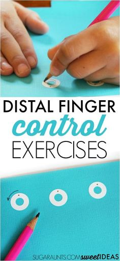 Try these distal finger control exercises using sticker reinforcement labels to…