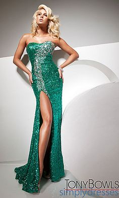 Tony Bowls Sequin Strapless Gown at SimplyDresses.com