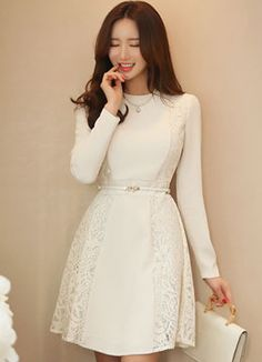 Romantic Lace Side Detail Flared Dress, Styleonme