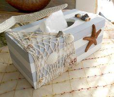 Mediterranean Sea Style Wooden Tissue Box Cover Unique Woodworking Tissue Holder Cool Home Decor Seashell Crafts, Beach Crafts, Fun Crafts, Arts And Crafts, Tissue Box Covers, Tissue Boxes, Decoupage Art, Decoupage Ideas, Home Goods Decor