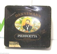 VINTAGE SMALL CIGARS TIN BOX DANNEMANN BRASIL PIERROETTA (empty)