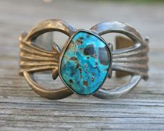 OLD PAWN Navajo Sandcast CUFF Bracelet STERLING SILVER Turquoise