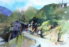 Guo Kim Seung, 郭金昇 Landscape Sketch, Watercolor Landscape Paintings, Watercolor Pictures, Watercolor And Ink, Watercolor Illustration, Watercolour Painting, Landscape Art, Watercolours, Pictures To Draw
