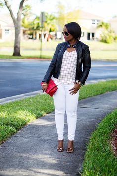 black leather jacket and white distressed jeans outfit with leopard heels and Rebecca Minkoff Red Love crossbody 5