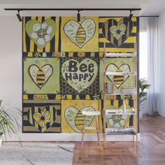 Funny Buzz Bee Happy Wall Mural by allthingstore | Society6