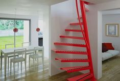Attic stairs or space saving stairs? A perfect beautiful compact staircase solution, check out more information and our gallery for stairs for small spaces Space Saving Staircase, Small Staircase, Attic Stairs, House Stairs, Staircase Ideas, Home Stairs Design, House Design, Stair Design, Spiral Stairs Design