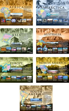 Where will you go today?    Students discover what is unique about each continent through colorful images and fascinating facts. Learn about the geography, climate, culture, resources, animals, and famous landmarks. They're so attractive; you'll want to keep them up as a permanent classroom decoration!  This set features:   Antarctica  Africa  Asia  Australia  Europe  North America  South America   ©️️2009 Teacher's Discovery. 17 x 22 inches each, laminated. Middle/high school. Includes