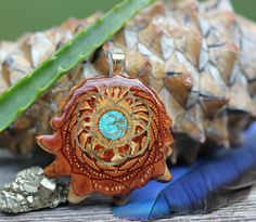 Glowing Crushed Turquoise (Medium) With Seed of Life Third Eye Pinecone Talisman Necklace by ThirdEyePineCones