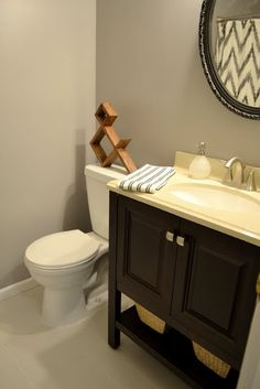 """Guest bathroom makeover using Clark + Kensington in """"Winter Chill"""" - By blogger, Ugly Ducking House"""