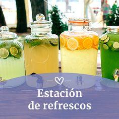 Refresca a tus invitados Cha Bar, Mason Jars, Table Decorations, Mugs, Tableware, Beer Bar, Dance Floors, Gastronomia, Wedding Boutonniere