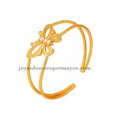 pulsera de mariposa brillante cristal en cobre dorado -BRBTG96366
