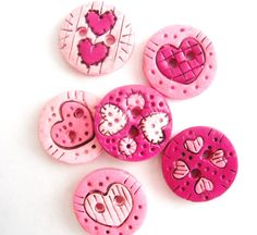 Button Antiqued Pink Hearts handmade polymer clay buttons ( 6 )