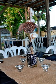 "Events: ""You'll be my glass of wine. I'll be your shot of whiskey"" Jack Daniels Themed Couples Shower! 40th Birthday Parties, 60th Birthday, Cigar And Whiskey Party, Jack Daniels Party, Couple Shower, In Vino Veritas, My Glass, Party Planning, Party Time"