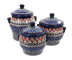 Polish Pottery Blue Horizon Canister Set -- You can find more details by visiting the image link.