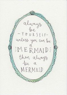 ALWAYS!  Mermaid Quote, Gift For Kids and Babies, Baby Girl Nursery Wall Art, Kids Room Decor, Girls Room Art, Watercolor Painting, Mermaid Print by violetandalfie on Etsy