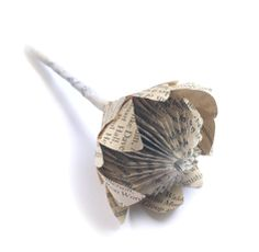 Book Paper Protea Buttonhole for Peabody wedding Book Page Crafts, Book Page Art, Handmade Flowers, Diy Flowers, Book Flowers, Origami Paper, Diy Paper, Folded Paper Flowers, Paper Flowers