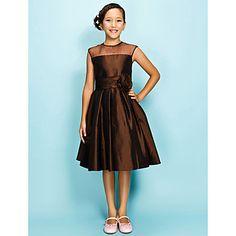 [XmasSale]a-lijn juweel knielange organza meer dan taft junior bruidsmeisje jurk – EUR € 45.45
