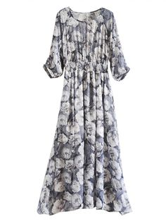 Floral Maxi Dress With Cut Out Sleeve | abaday