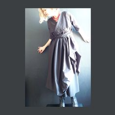 Black Cotton Lawn Dress With Ties and Side Drape. £155.00, via Etsy.