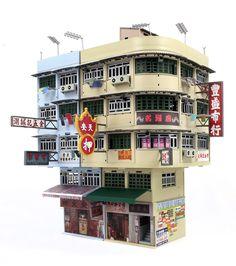 Hong Kong Old Tenements Hong Kong Architecture, Asian Architecture, Architecture Drawings, Hong Kong Building, Building Art, Model Building, Kowloon Walled City, Comic Tutorial, Cyberpunk City