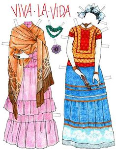 boneca de papel Frida Kahlo* The International Paper Doll Society by Arielle Gabriel for all paper doll and paper toy lovers. Mattel, DIsney, Betsy McCall, etc. Join me at ArtrA, #QuanYin5 Linked In QuanYin5 YouTube QuanYin5