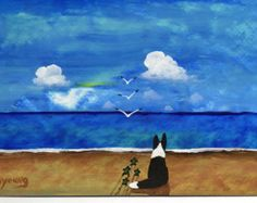 Border Collie perro grande impresión de arte por ToddYoungArt