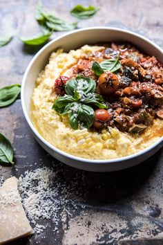 Late Summer Vegetable Bolognese with Creamy Polenta by Half Baked Harvest Vegetarian Recipes, Cooking Recipes, Healthy Recipes, Vegan Recepies, Kitchen Recipes, Beef Recipes, Vegetable Bolognese, Clean Eating, Healthy Eating